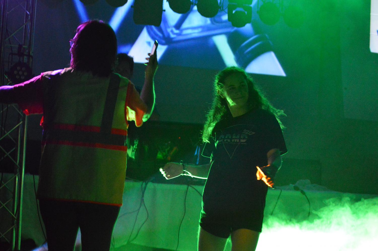 Students dance through lunch during the Neon Rave.