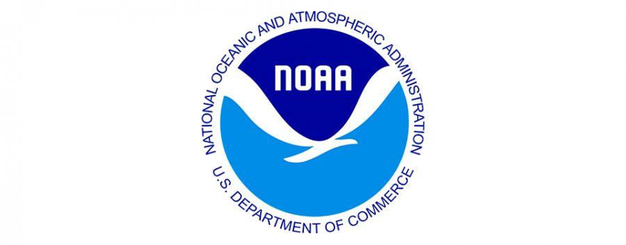 NOAA's logo uses a white gull-like form to help show a connection between the Earth, ocean, atmosphere, and the ecosystems