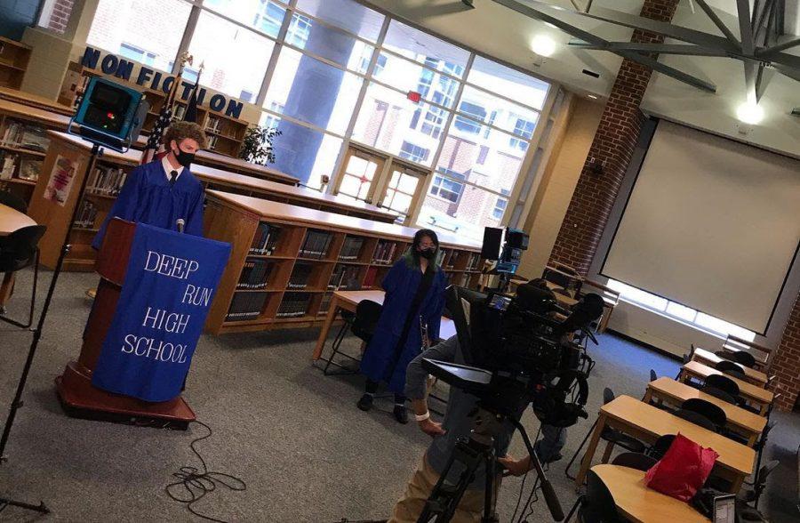 Class president Jackson Vanhorn record virtual convocation video.