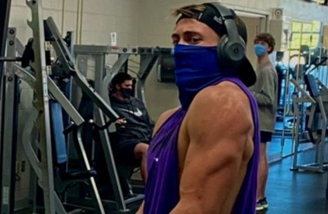 Blankenship works safely toward his goals at the gym.