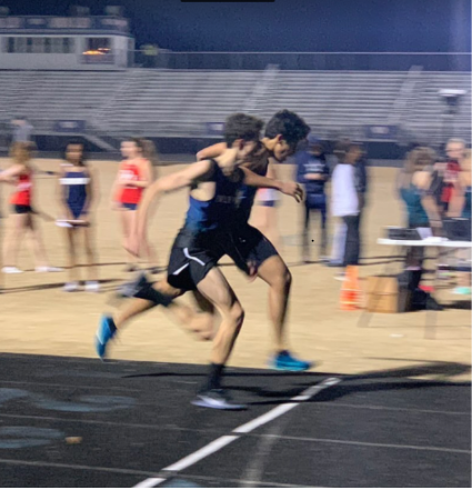 Luke Sahli races to the finish line in a winter track meet last year. Photo courtesy of Luke Sahli.