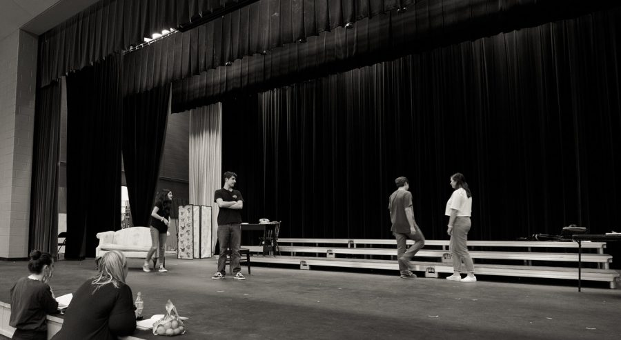 Play production taking place last year with Ms. Gibson, stage manager Abby Kelly, and actors Sophia Fox, Nick Molnar, Ben Nilson, and Kate Freakley.
