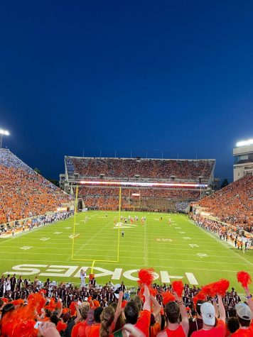 Pictured is the view from the student section at Lane Stadium.